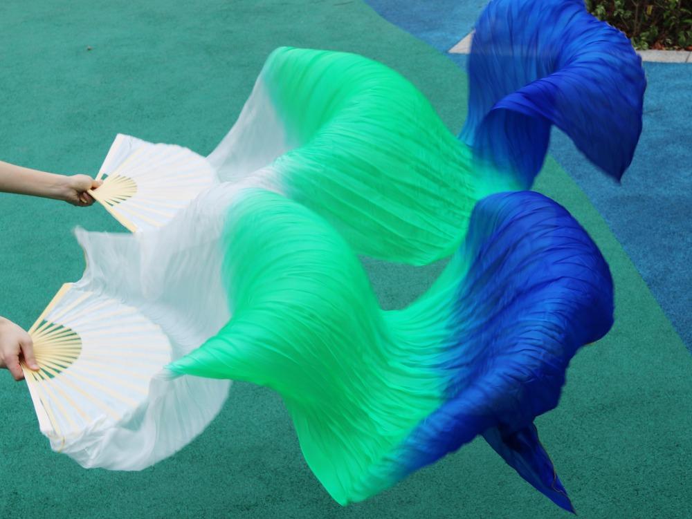 Leque Branco Verde e Azul